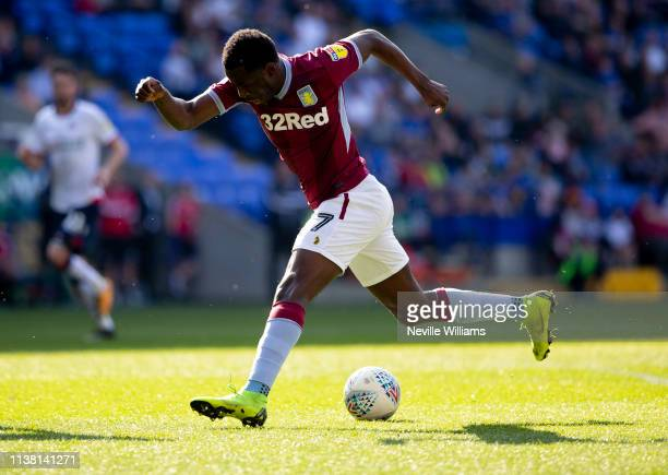 Keinan Davis of Aston Villa in action during the Sky Bet Championship match between Bolton Wanderers and Aston Villa at the Macron Stadium on April...