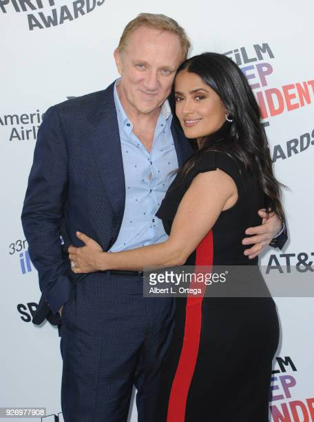 Keing CEO and Chairman Francois-Henri Pinault and wife/actress Selma Hayek arrive for the 2018 Film Independent Spirit Awards on March 3, 2018 in...