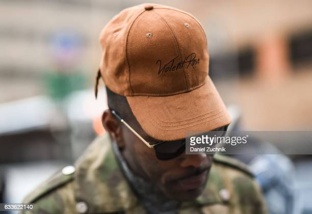 Keino Benjamin is seen wearing a Violent Rose hat outside of the General Idea show during New York Fashion Week Men's AW17 on February 2 2017 in New...