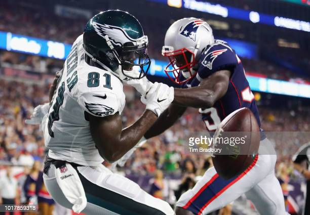 Keion Crossen of the New England Patriots breaks up a pass in the end zone intended for Kamar Aiken of the Philadelphia Eagles in the first half...