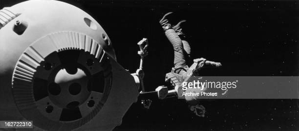 Keir Dullea piloting oneman space pod attempts to rescue fellow astronaut Gary Lockwood in space in a scene from the film '2001 A Space Odyssey' 1968