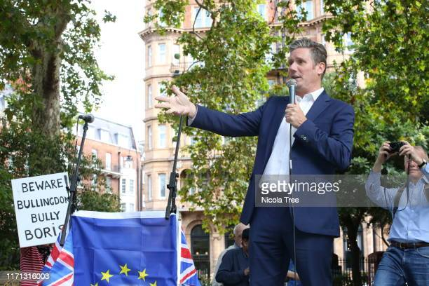 Keir Starmer Labour MP for St Pancreas and Holborn speaking at the Russell Square Rally against Brexit on August 31 2019 in London England