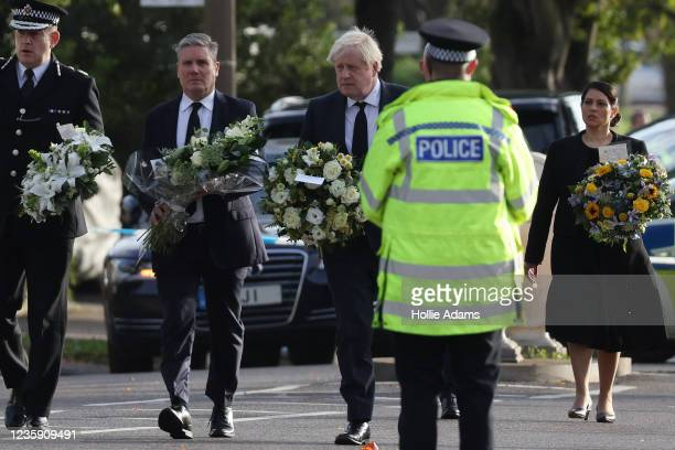 Keir Starmer, leader of the Labour Party, Boris Johnson, Prime Minister, and Priti Patel, Home Secretary, arrive to lay flowers at Belfairs Methodist...