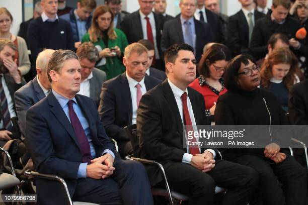 Keir Starmer Richard Burgon and Dianne Abbott listen as Labour leader Jeremy Corbyn makes a speech about Brexit during a visit to OE Electrics in...