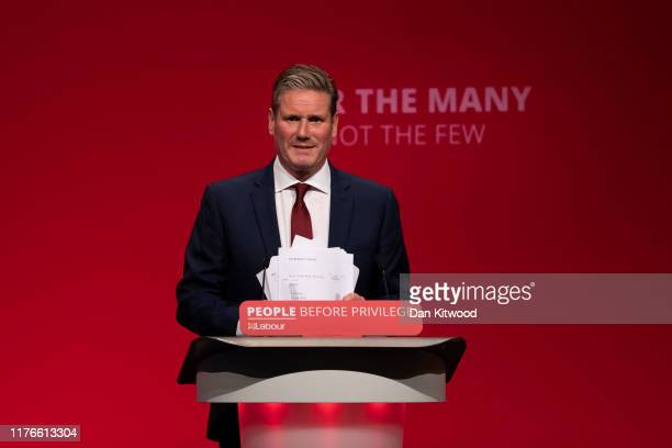 Keir Starmer Shadow Secretary of State addresses delegates on the third day of the Labour Party conference on September 23 2019 in Brighton England...