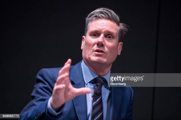 Keir Starmer UK exiting the European Union spokesman for the opposition Labour party speaks at Bloomberg's European headquarters in London UK on...