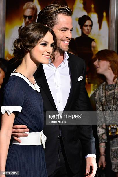 Keira Knightley and Chris Pine arrive at 'Jack Ryan Shadow Recruit' Los Angeles Premiere at TCL Chinese Theatre on January 15 2014 in Hollywood...