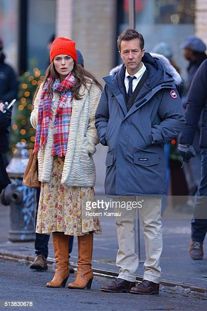 Keira Knightley and Ed Norton seen on set of Colletaral Beauty on March 4 2016 in East Village New York City
