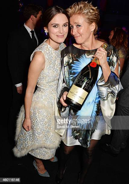 Keira Knightley and Emma Thompson attend an after party celebrating The Moet British Independent Film Awards 2014 at Old Billingsgate Market on...