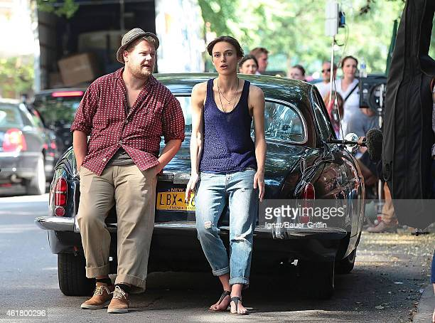 Keira Knightley and James Corden are seen on the movie set of 'Begin Again' on July 26 2012 in New York City