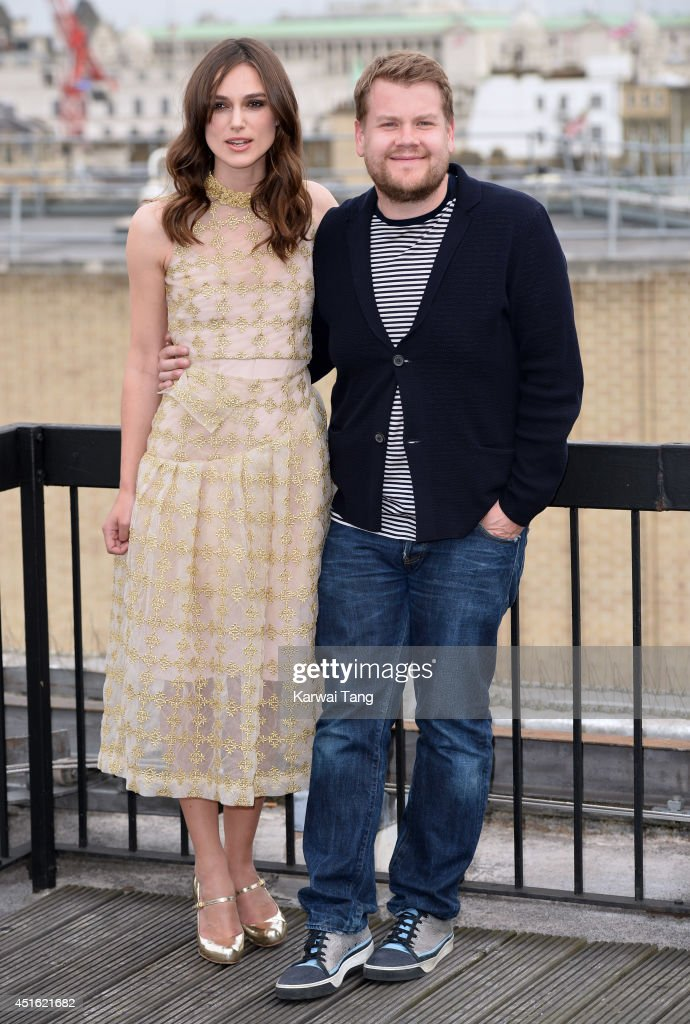 Keira Knightley and James Corden attend a photocall for 'Begin Again' at Picturehouse Cinemas Ltd on July 2, 2014 in London, England.
