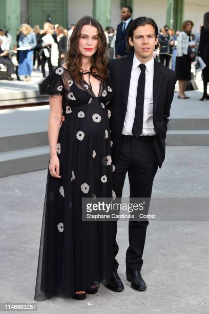 Keira Knightley and James Righton attend the Chanel Cruise Collection 2020 : Photocall At Grand Palais on May 03, 2019 in Paris, France.