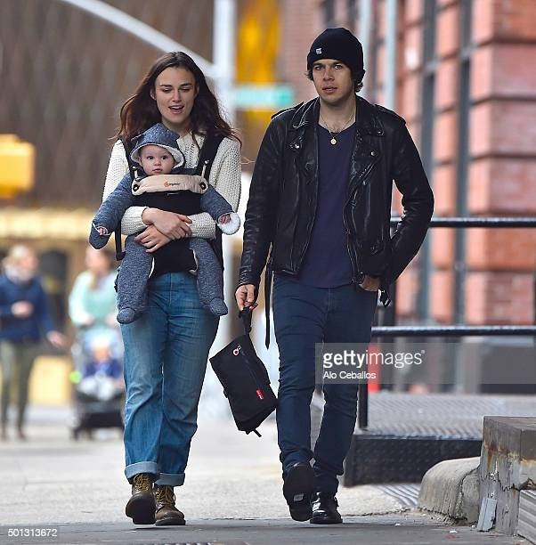 Keira Knightley and James Righton with daughter Edie Righton are seen in Tribeca on December 14 2015 in New York City