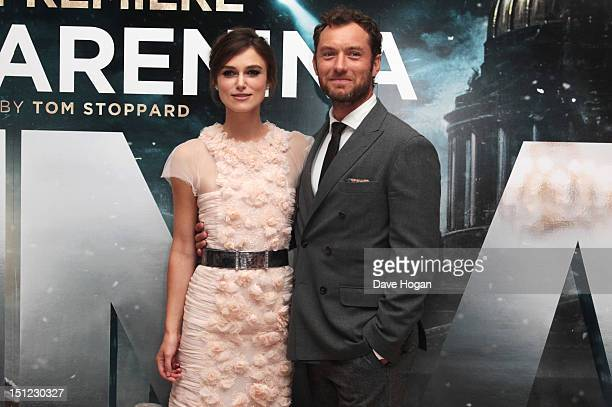 Keira Knightley and Jude Law attend the UK premiere of Anna Karenina at The Odeon Leicester Square on September 4, 2012 in London, England.