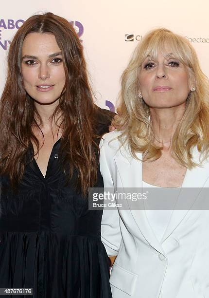 Keira Knightley and Judith Light pose at the Roundabout Theater Company's 50th Anniversary Season Party at The American Airlines Theater Penthouse on...