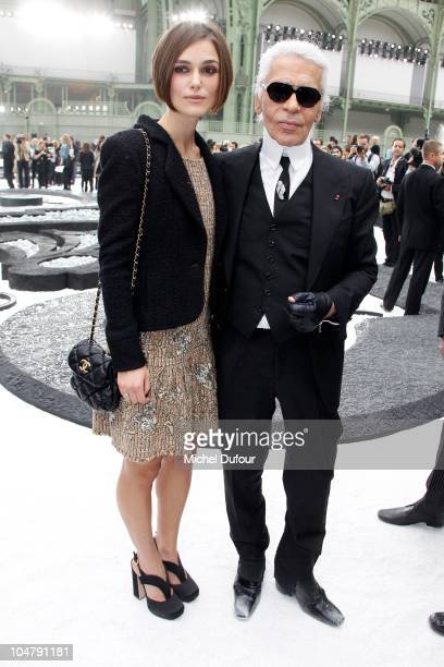Keira Knightley and Karl Lagerfeld attend the Chanel Ready to Wear Spring/Summer 2011 show during Paris Fashion Week at Grand Palais on October 5,...