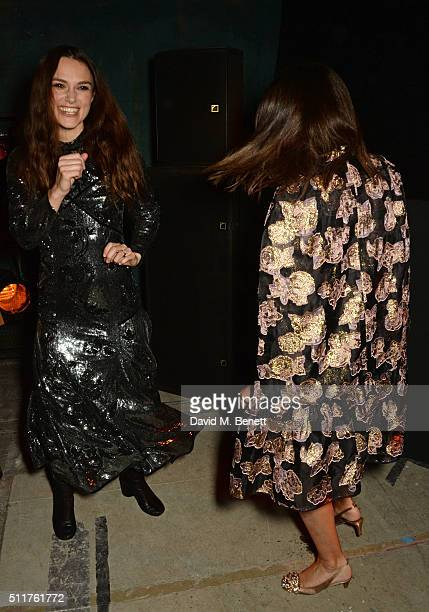 Keira Knightley and Natalie Massenet attends the Erdem x Selfridges LFW Afterpary at the Old Selfridges Hotel on February 22 2016 in London England