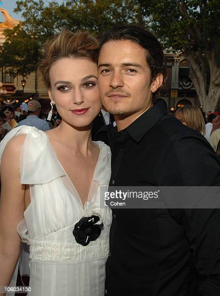 Keira Knightley and Orlando Bloom during 'Pirates of the Caribbean Dead Man's Chest' World Premiere Red Carpet at Disneyland in Anaheim California...