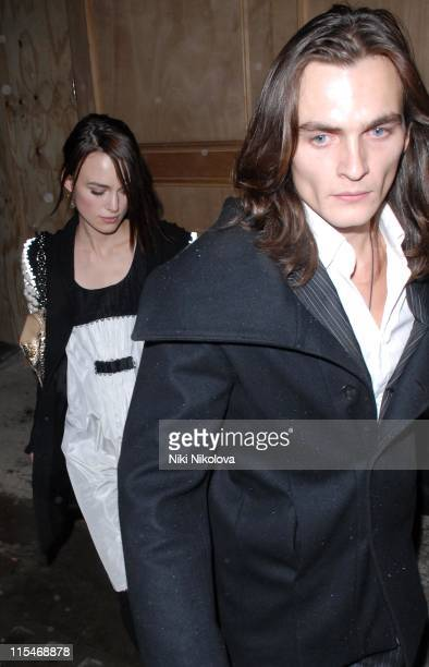 Keira Knightley and Rupert Friend during ''Tamara Mellon and Harvey Weinstein Party'' February 9 2007 at Cicconi's in London Great Britain