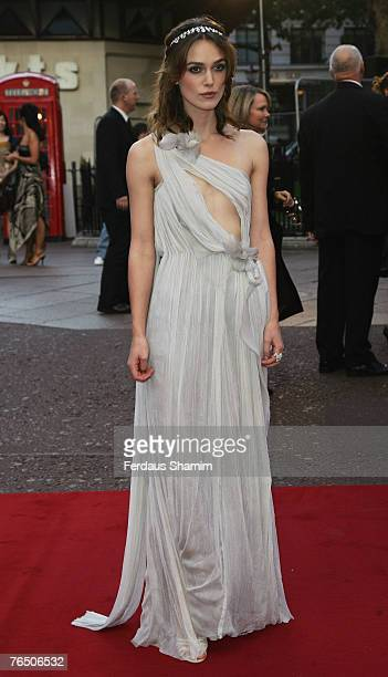 Keira Knightley arrives at the Atonement UK Premiere on September 3 2007 in London England