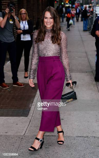 Keira Knightley arrives at The Late Show with Stephen Colbert on September 12 2018 in New York City