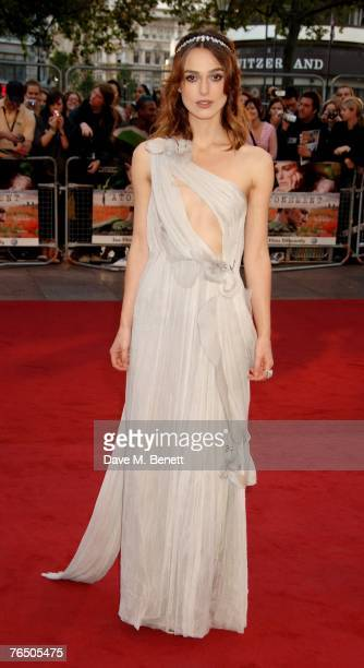 Keira Knightley arrives at the UK Premiere of 'Atonement', at Odeon Leicester Square on September 4, 2007 in London, England.