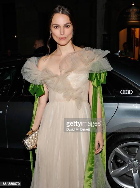 Keira Knightley arrives in an Audi at the Evening Standard Theatre Awards at Theatre Royal on December 3 2017 in London England