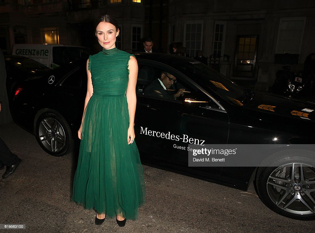Keira Knightley arrives in style in a Mercedes-Benz at the Harper's Bazaar Women of the Year 2016 at Claridges Hotel on October 31, 2016 in London, England.