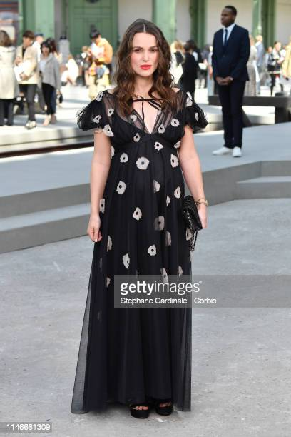 Keira Knightley attends the Chanel Cruise Collection 2020 : Photocall At Grand Palais on May 03, 2019 in Paris, France.