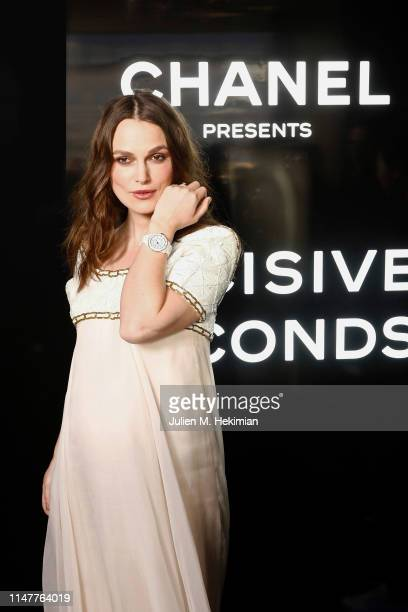 Keira Knightley attends the Chanel J12 Watch Launch at Place Vendome on May 02 2019 in Paris France