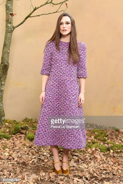 Keira Knightley attends the Chanel show as part of the Paris Fashion Week Womenswear Fall/Winter 2018/2019 at Le Grand Palais on March 6 2018 in...