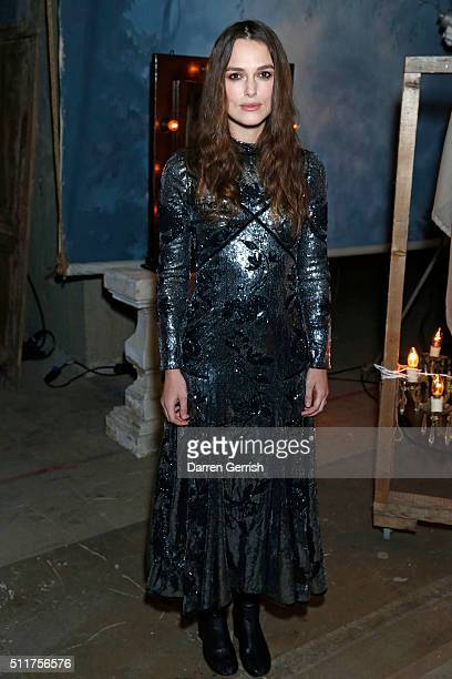 Keira Knightley attends the Erdem x Selfridges Wrap Party during London Fashion Week Autumn/Winter 2016/17 at on February 22, 2016 in London, England.