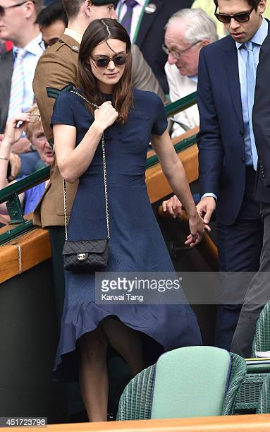 Keira Knightley attends the ladies singles final between Eugenie Bouchard and Petra Kvitova on centre court during day twelve of the Wimbledon...
