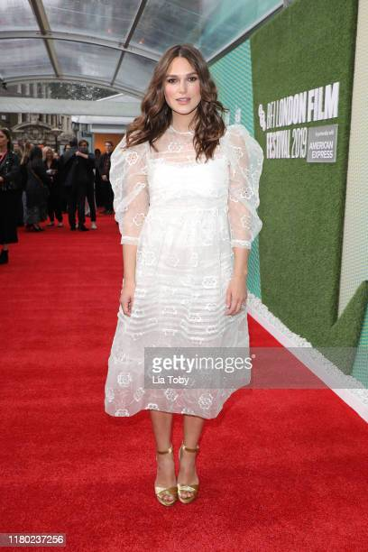 Keira Knightley attends the Official Secrets European Premiere during the 63rd BFI London Film Festival at the Embankment Gardens Cinema on October...