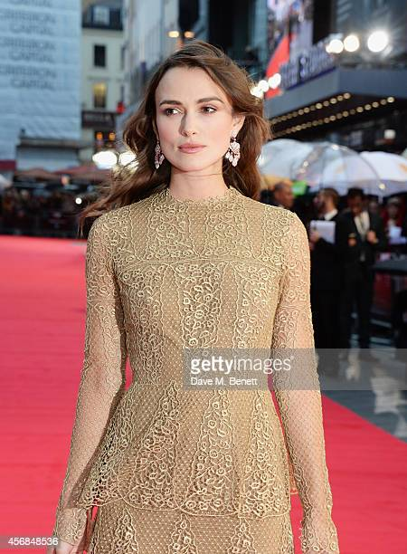 Keira Knightley attends the Opening Night Gala Screening of 'The Imitation Game' during the 58th London Film Festival at Odeon Leicester Square on...