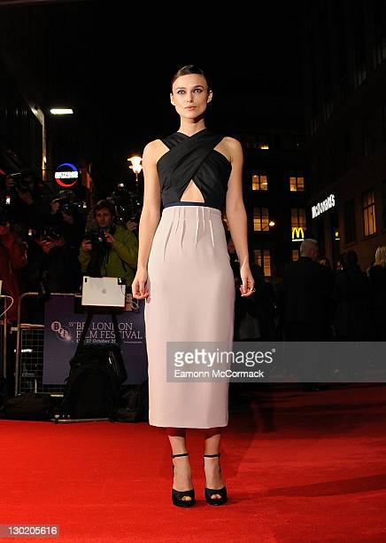 Keira Knightley attends the premiere of 'A Dangerous Method' at The 55th BFI London Film Festival at Odeon West End on October 24 2011 in London...