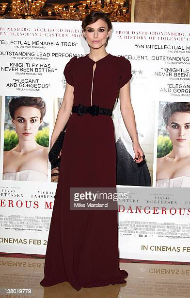 Keira Knightley attends the UK gala premiere of 'A Dangerous Method' at The Mayfair Hotel on January 31 2012 in London England