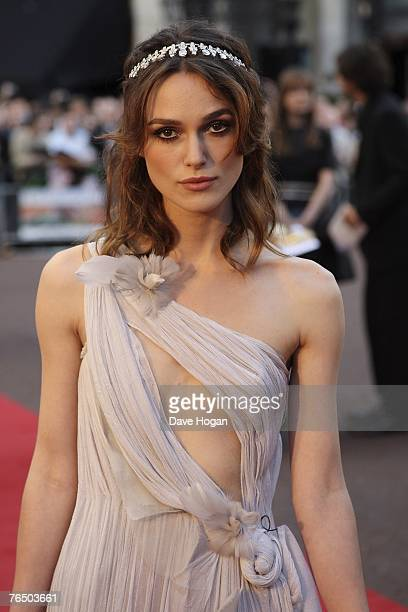 Keira Knightley attends the UK Premiere of Atonement at The Odeon Leicester Square on September 04 2007 in London England