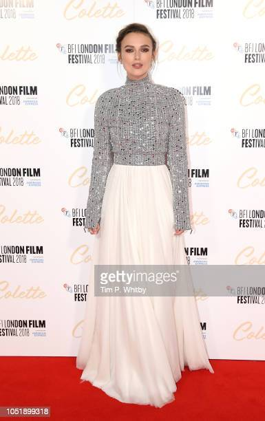 Keira Knightley attends the UK Premiere of Colette and BFI Patrons gala during the 62nd BFI London Film Festival on October 11 2018 in London England
