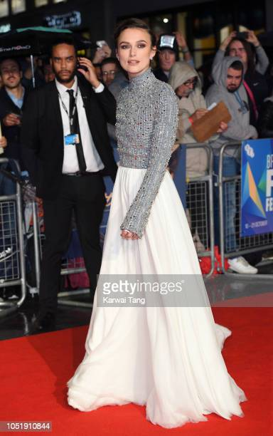 "Keira Knightley attends the UK Premiere of ""Colette"" and BFI Patrons gala during the 62nd BFI London Film Festival on October 11, 2018 in London,..."