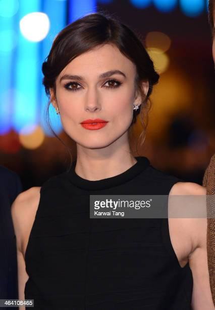 Keira Knightley attends the UK Premiere of 'Jack Ryan Shadow Recruit' at the Vue Leicester Square on January 20 2014 in London England