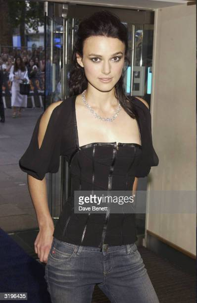 Keira Knightley attends the UK Premiere of Pirates of The Caribbean at the Odeon Leicester Square on July 15 2003 in London