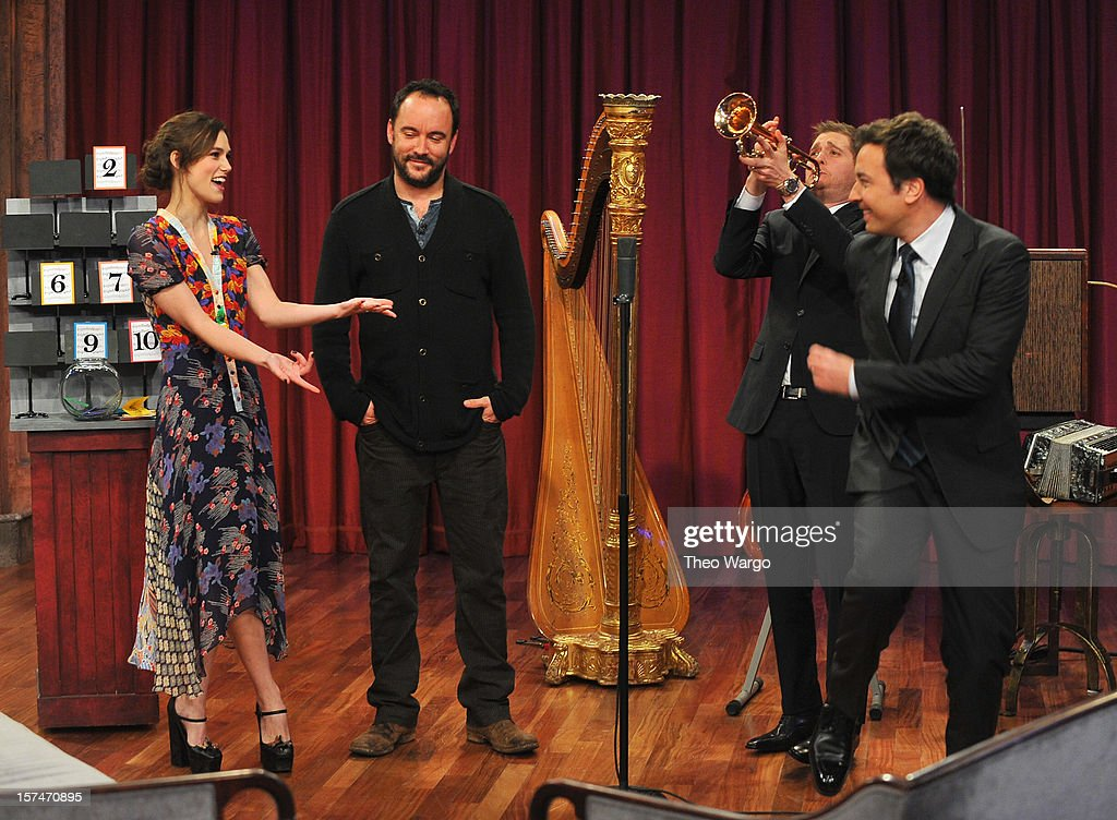Keira Knightley, Dave Matthews, Michael Buble and Jimmy Fallon during a taping of 'Late Night With Jimmy Fallon' at Rockefeller Center on December 3, 2012 in New York City.