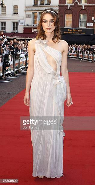 """Keira Knightley during the premiere of """"Atonement"""" at the Odean Leicester Square on September 4, 2007 in London, England."""