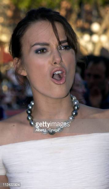 "Keira Knightley during The World Premiere of ""Pirates of The Caribbean: The Curse of The Black Pearl"" at Disneyland in Anaheim, California, United..."