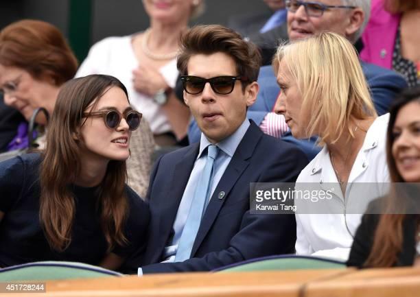 Keira Knightley James Righton and Martina Navratilova attend the ladies singles final between Eugenie Bouchard and Petra Kvitova on centre court...