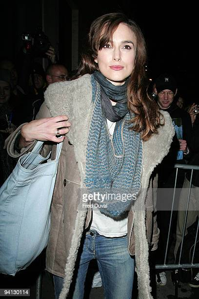 Keira Knightley leaving the Comedy Theatre where she stars in the show 'The Misanthrope' on December 7 2009 in London England
