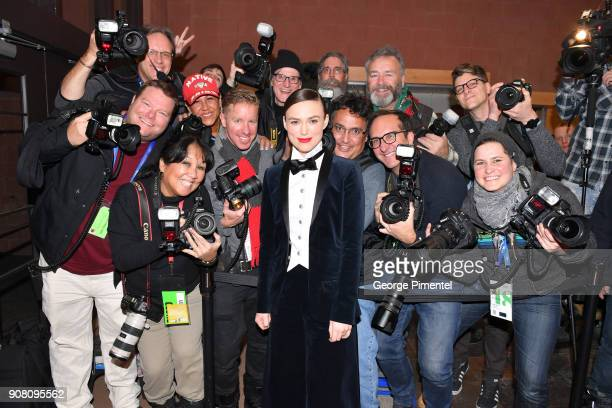 Keira Knightley posses with photographers at the 'Colette' Premiere during the 2018 Sundance Film Festival at Eccles Center Theatre on January 20...
