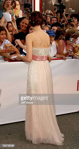 Keira Knightley signs autographs at the Opening Ceremony and the Atonement Premiere at the 64th Annual Venice Film Festival on August 29 2007 in...