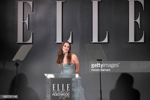 Keira Knightley speaks onstage during ELLE's 25th Annual Women In Hollywood Celebration presented by L'Oreal Paris Hearts On Fire and CALVIN KLEIN at...